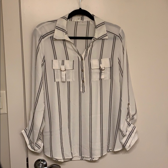 Tops - Black and White Striped Shirt